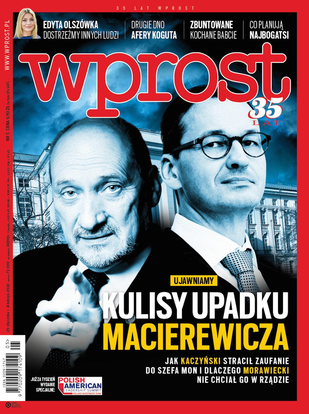 Okładka tygodnika Wprost nr 5/2018 (1821)