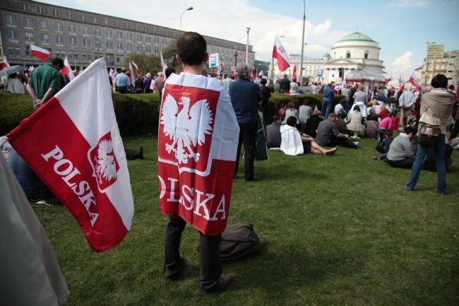...i chyba nikt nie miał wątpliwości, gdzie tego dnia stała Polska (fot. PAP/Tomasz Gzell)