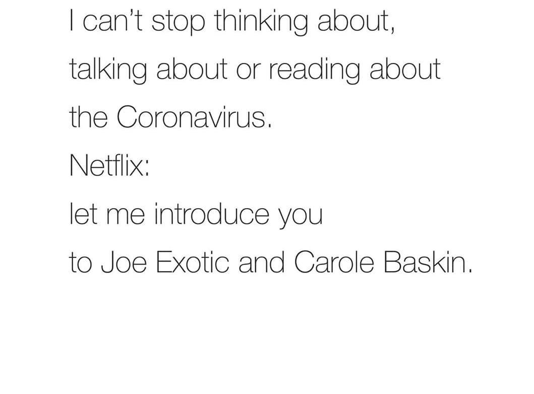 """""""Nie mogę przestać myśleć, rozmawiać i czytać o koronawirusie""""/Netflix: Pozwól, że przedstawię ci Joe Exotica i Carole Baskin"""