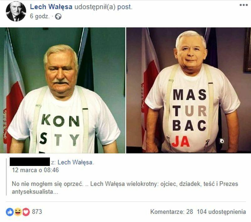 Wpis podany dalej przez Lecha Wałęsą
