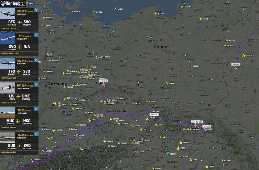Zdjęcie zamieszczone na Twitterze Flightradar