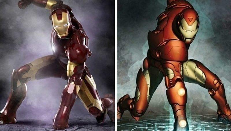 Iron Man (po lewej w filmie, po prawej zgodnie z komiksem)