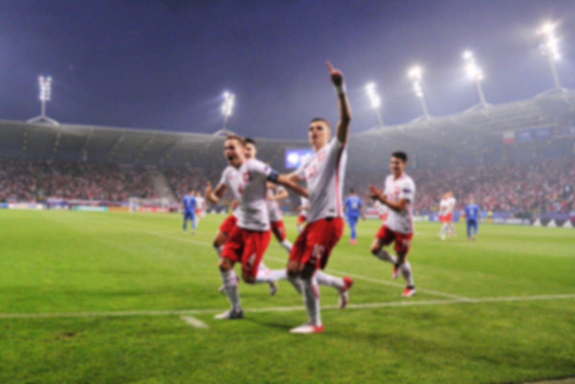 Zawodnicy reprezentacji Polski po zdobytym golu